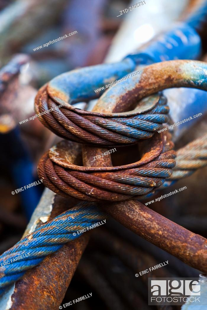 Close up of a corroded or broken wire rope ready for recycling ...