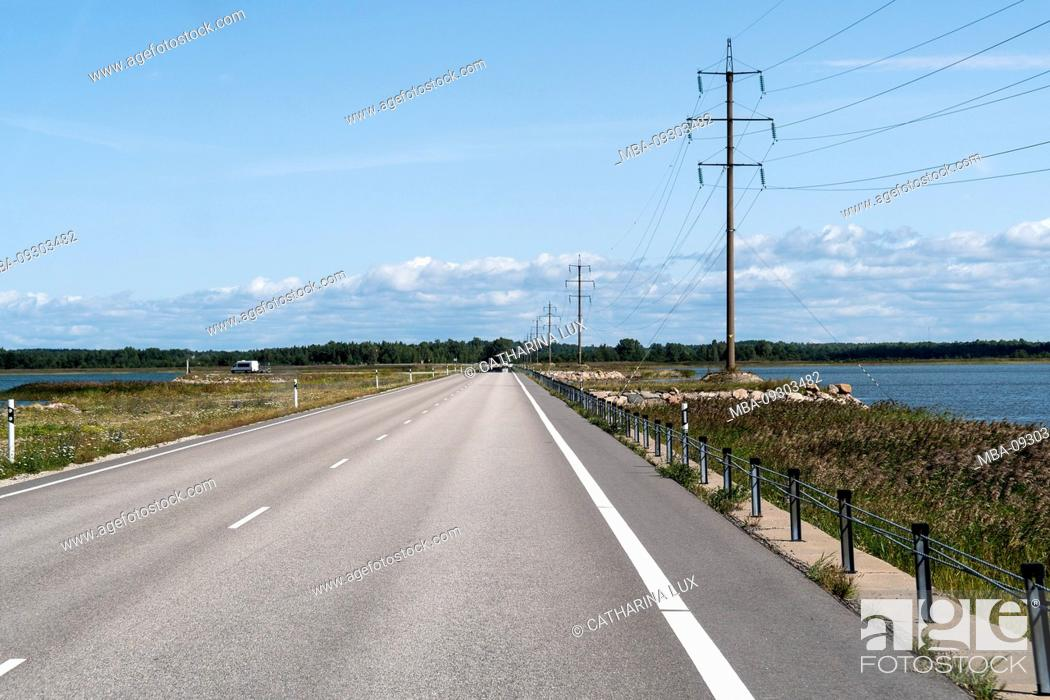 Stock Photo: Estonia, Saaremaa, dike between Saaremaa and Muhu.
