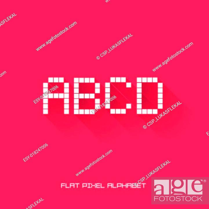 A B C D - Flat Pixel Alphabet, Stock Vector, Vector And Low