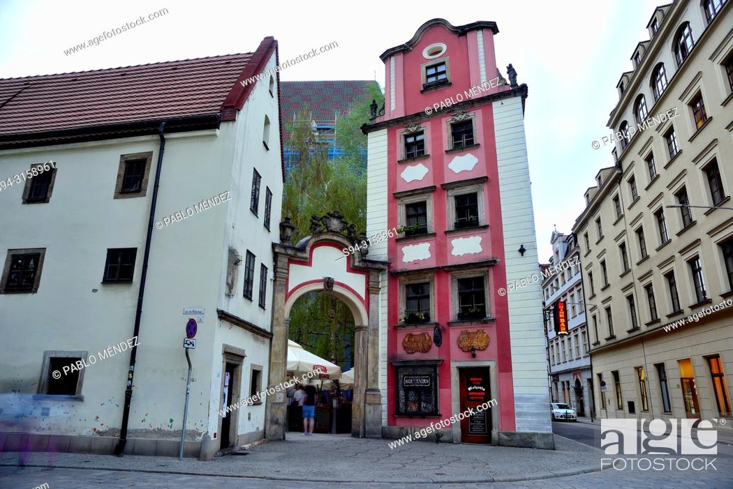 Stock Photo: Hansel and Gretel house in Market square (Rynek) of Wroclaw or Breslau, Poland.
