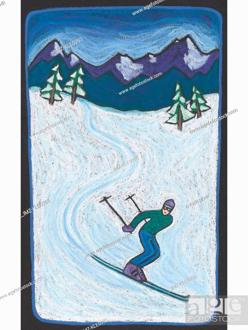 Stock Photo: A down hill skier on a snowy slope.