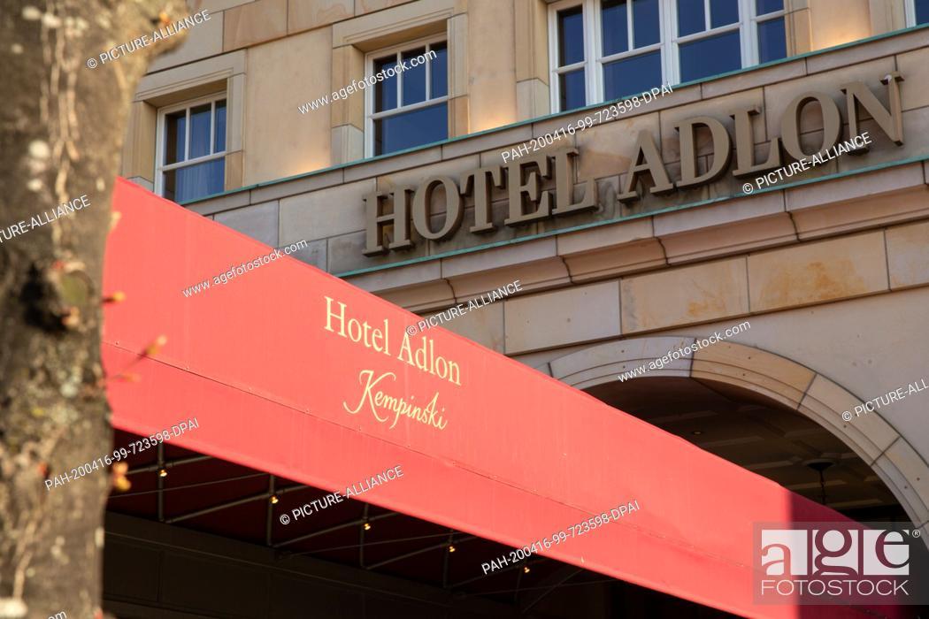Stock Photo: 13 April 2020, Berlin: The entrance from the Hotel Adlon Kempinski by day. Photo: Gerald Matzka/dpa-Zentralbild/ZB. - Berlin/Berlin/Germany.