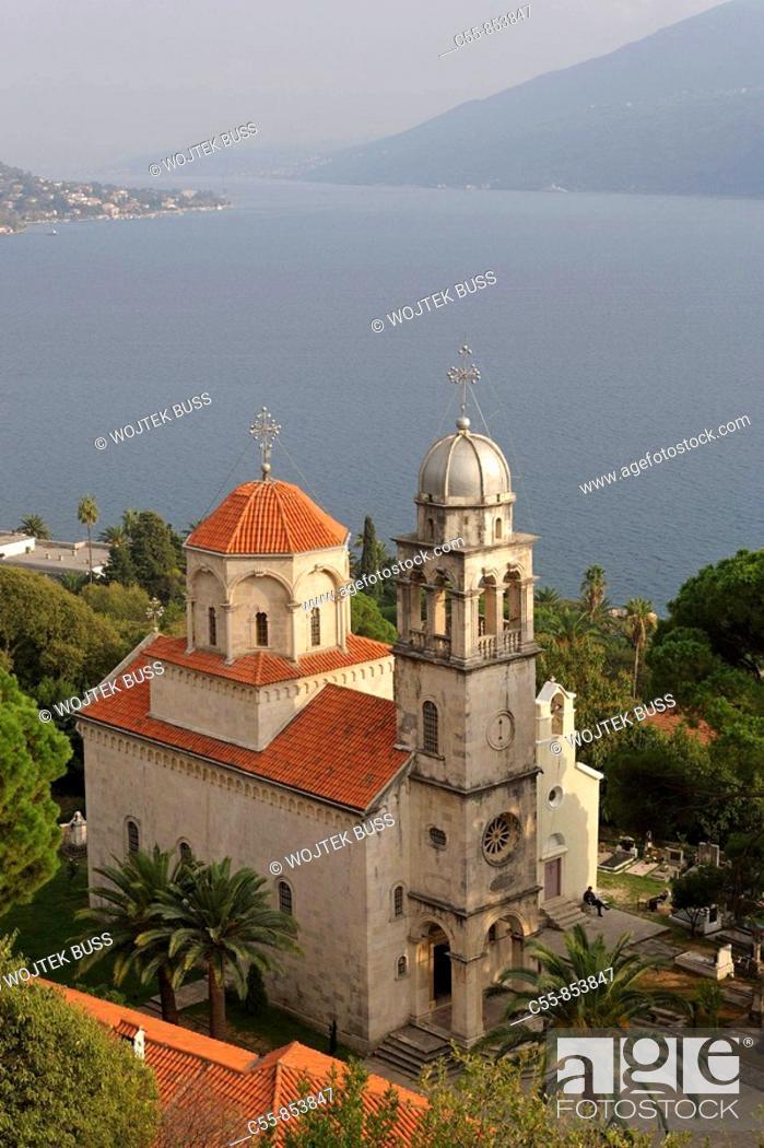 Stock Photo: Great Uspenskaya church, Great church of the Assumption , Kotor Bay, Savina Monastery, near Herceg-Novi, Montenegro.