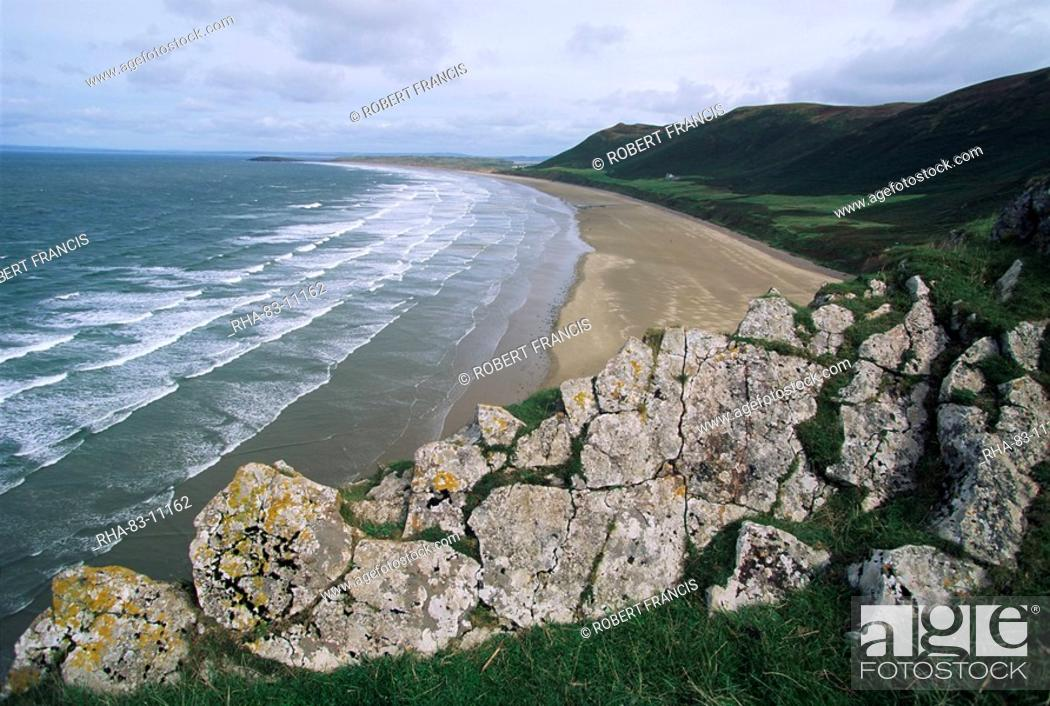 Stock Photo: Looking from the cliffs at Rhossili, above Rhossili Bay, towards Llangennith at far west of the Gower Peninsula, West Glamorgan, Wales, United Kingdom, Europe.