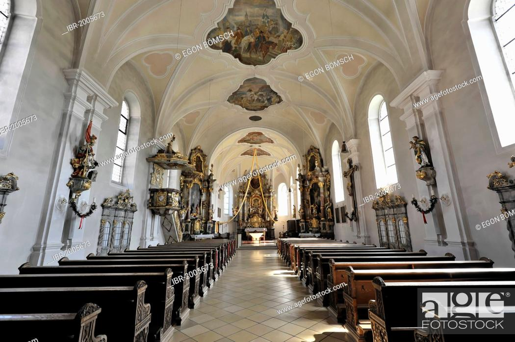Stock Photo: Interior view, Church of the Assumption of Mary, first mentioned in 1179, Bad Koetzting, Bavaria, Germany, Europe.