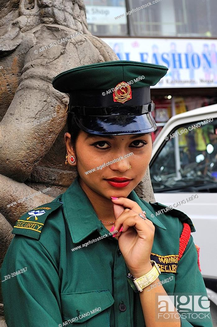 Stock Photo: Female police, Durbar Square, Kathmandu, Nepal.