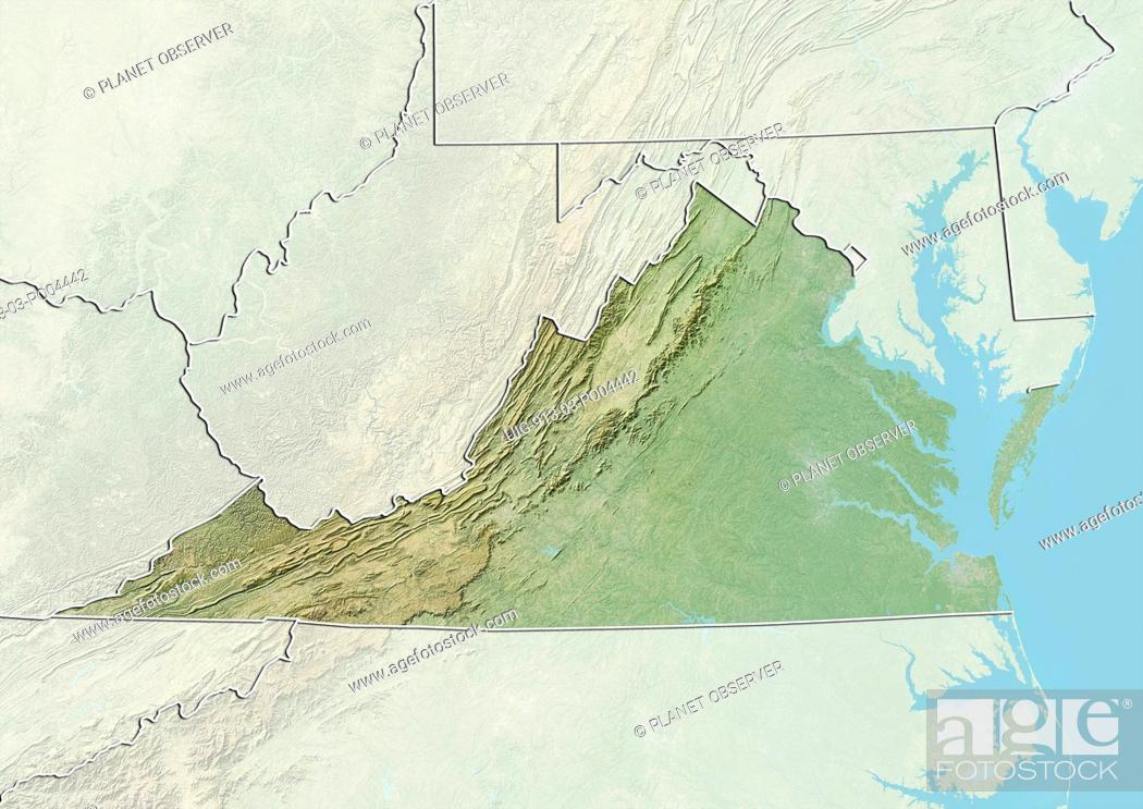 Virginia United States Map.Relief Map Of The State Of Virginia United States This Image Was