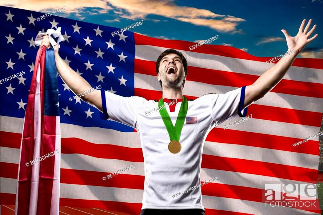 Imagen: American Athlete Winning a golden medal in front of a american flag.