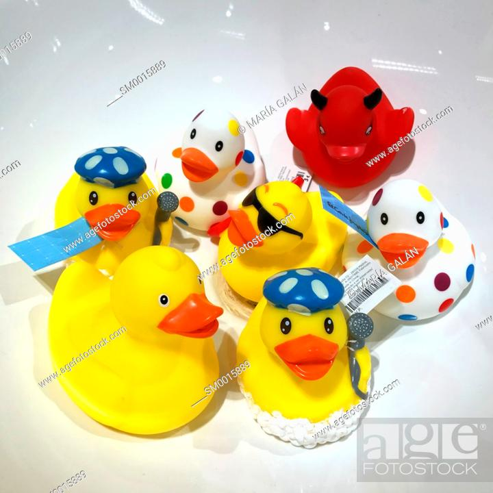 Stock Photo: Assorted rubber duckies.