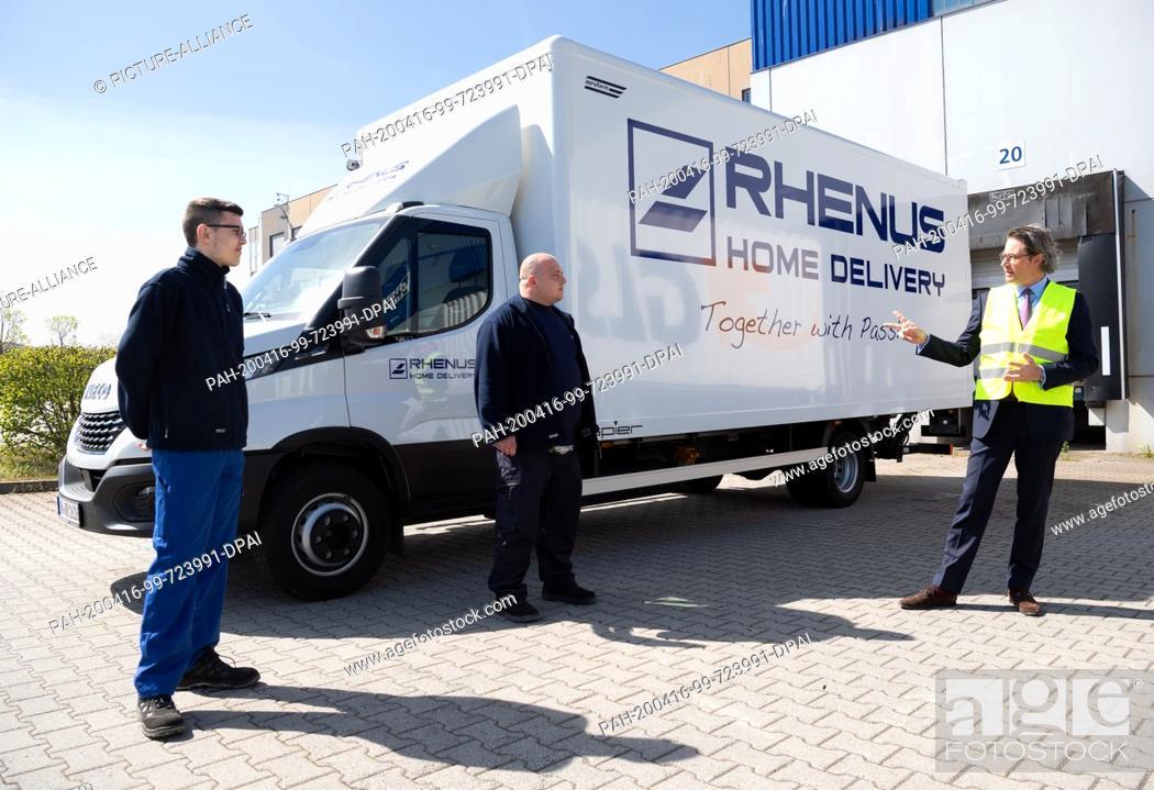 Stock Photo: 16 April 2020, Brandenburg, Großbeeren: Federal Minister of Transport Andreas Scheuer (CSU) visits the logistics service provider Rhenus Warehousing Solutions.