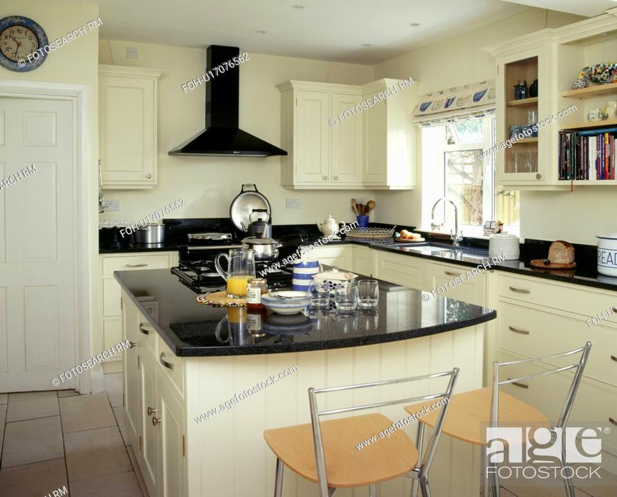 Breakfast Set On Island Worktop With Black Granite Unit In White Country Kitchen Stock Photo Picture And Rights Managed Image Pic Foh U17076562 Agefotostock