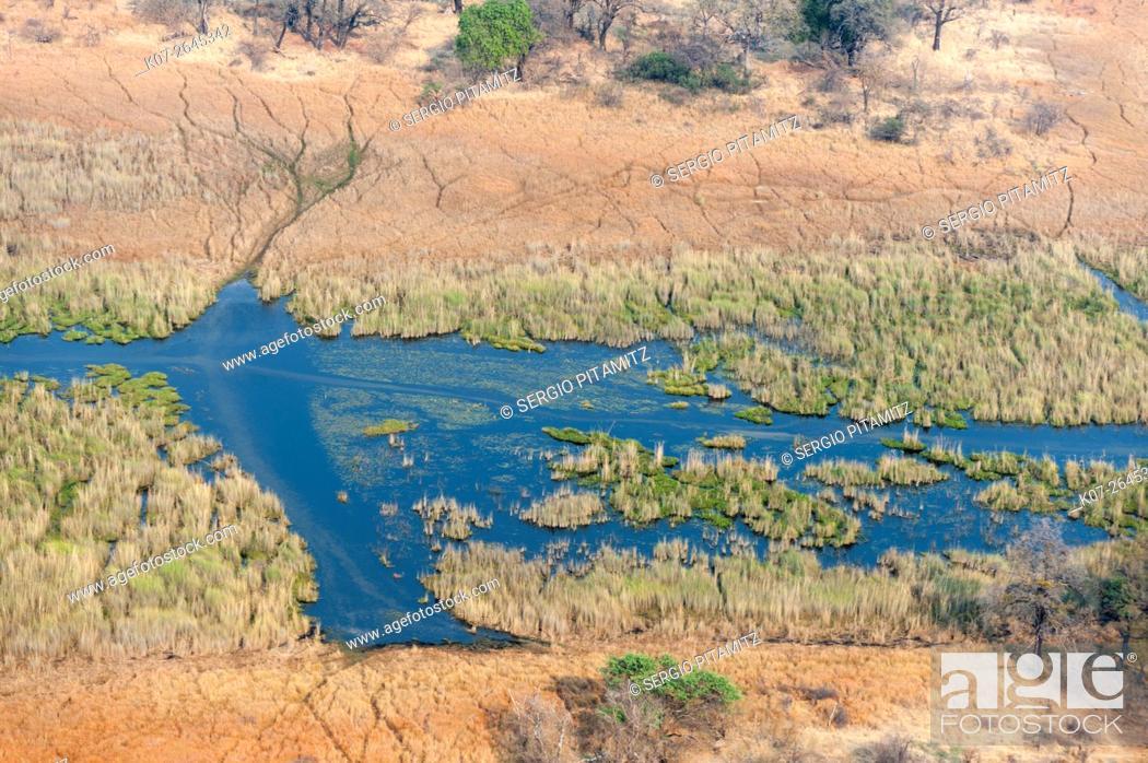 Stock Photo: Aerial view of Okavango delta, Botswana.
