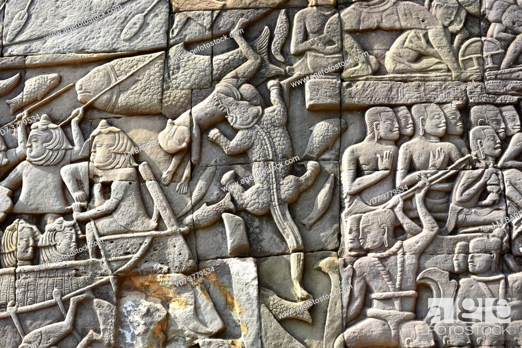 Imagen: Bayon, buddhist temple of the Khmer Empire (12th century). Engravets. Angkor Thom, Siem Reap, Cambodia.