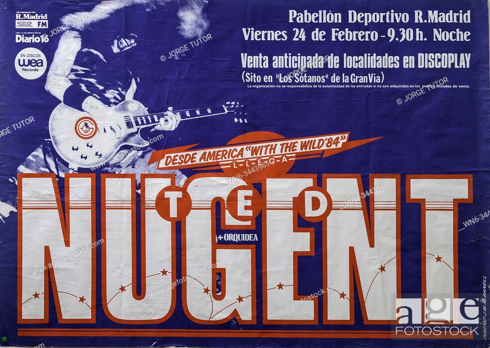 Imagen: Ted Nugent, Madrid 1984, With the Wild tour, Musical concert poster.