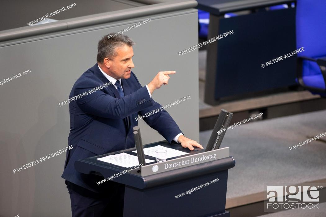 Stock Photo: 03 July 2020, Berlin: Martin Hess (AfD) speaks in the plenary session in the German Bundestag. The main topics of the 171st session of the 19th legislative.
