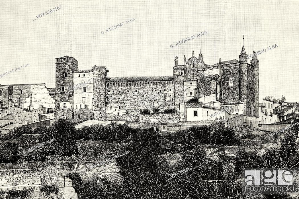 Stock Photo: Royal Monastery of Santa Maria de Guadalupe, Caceres province. UNESCO World Heritage Site. Extremadura, Spain. Europe. Old XIX century engraved illustration.