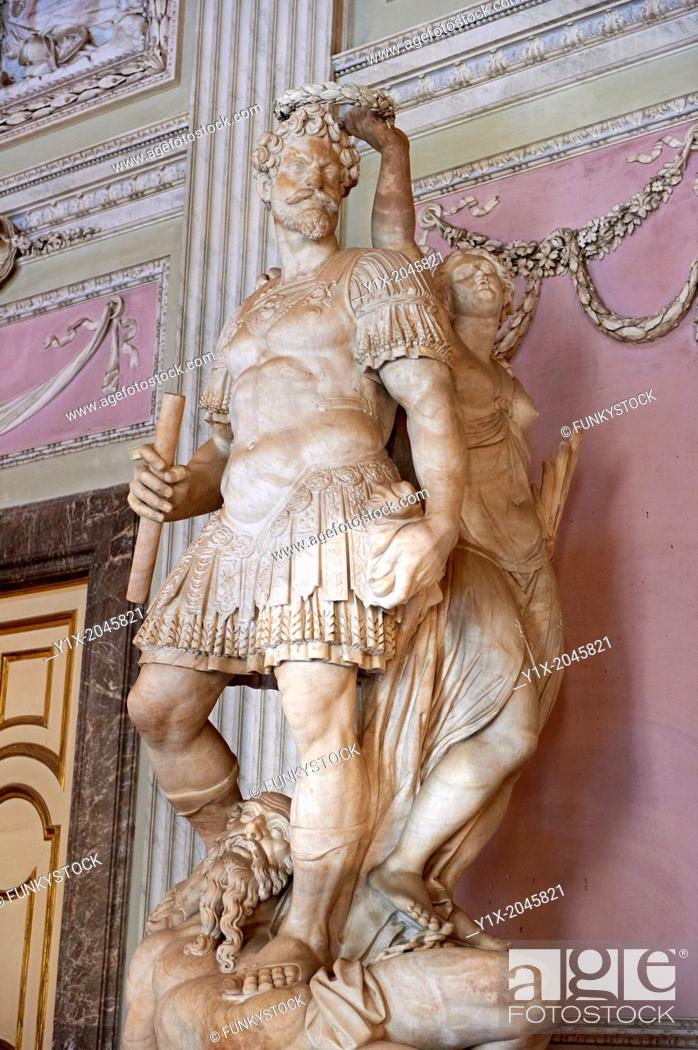 """Stock Photo: """"""""""""""""""""The Room of the Bodyguards"""""""" - The statue of Alessandro Farnese dressed as a Roman commander being crowned for the victory over the people of Flanders and."""