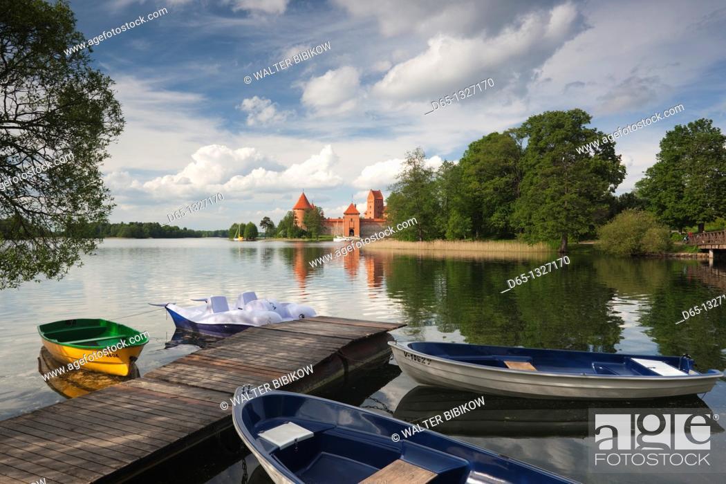 Stock Photo: Lithuania, Trakai, Trakai Historical National Park, Island Castle on Lake Galve.