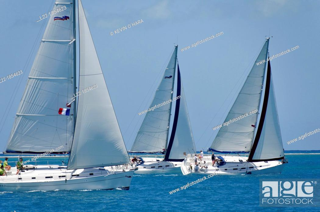 Stock Photo: Sailboat regattas  British Virgin Islands.