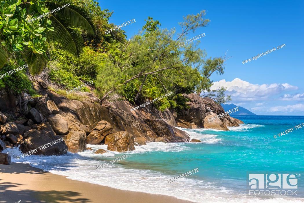 Stock Photo: Dream Seascape Coast - Idyllic paradise palm Anse Major beach, part of the Baie Tarney Marine National Park and is overall part of the Morne Seychellois.