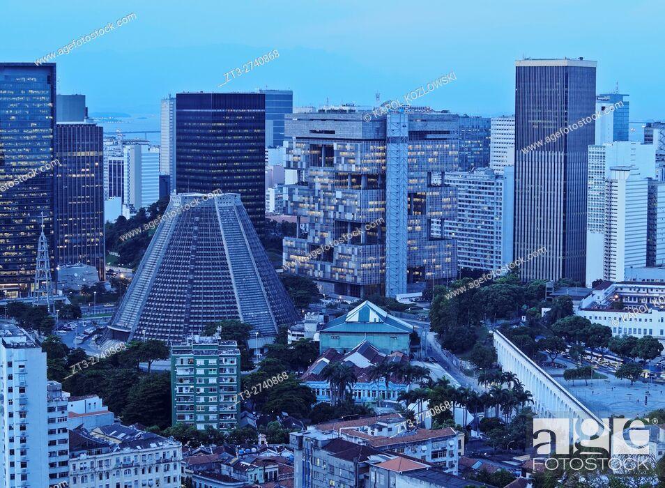 Stock Photo: Brazil, City of Rio de Janeiro, City Center Skyline viewed from the Parque das Ruinas in Santa Teresa.