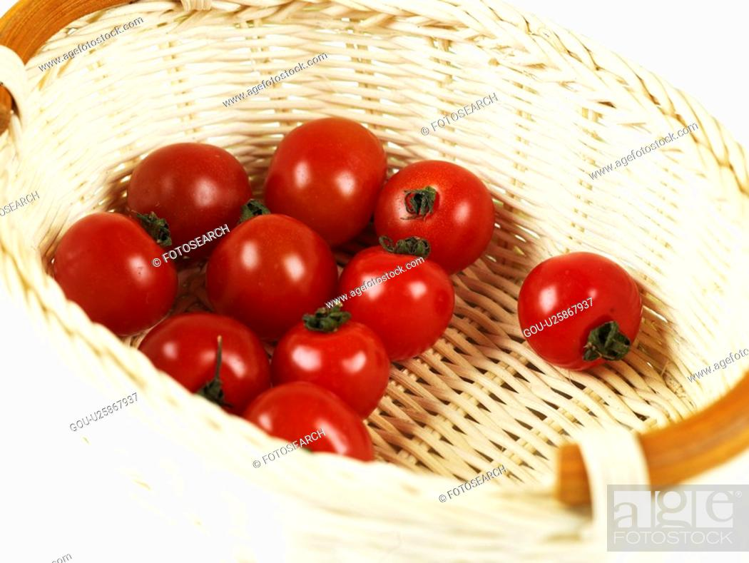 Stock Photo: plant, cherry tomato, fruit, plants, basket.