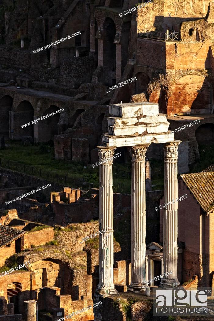 Stock Photo: The three standing columns of Castor and Pollux in the Roman Forum at sunset, Centro Storico, Rome, Lazio, Italy.