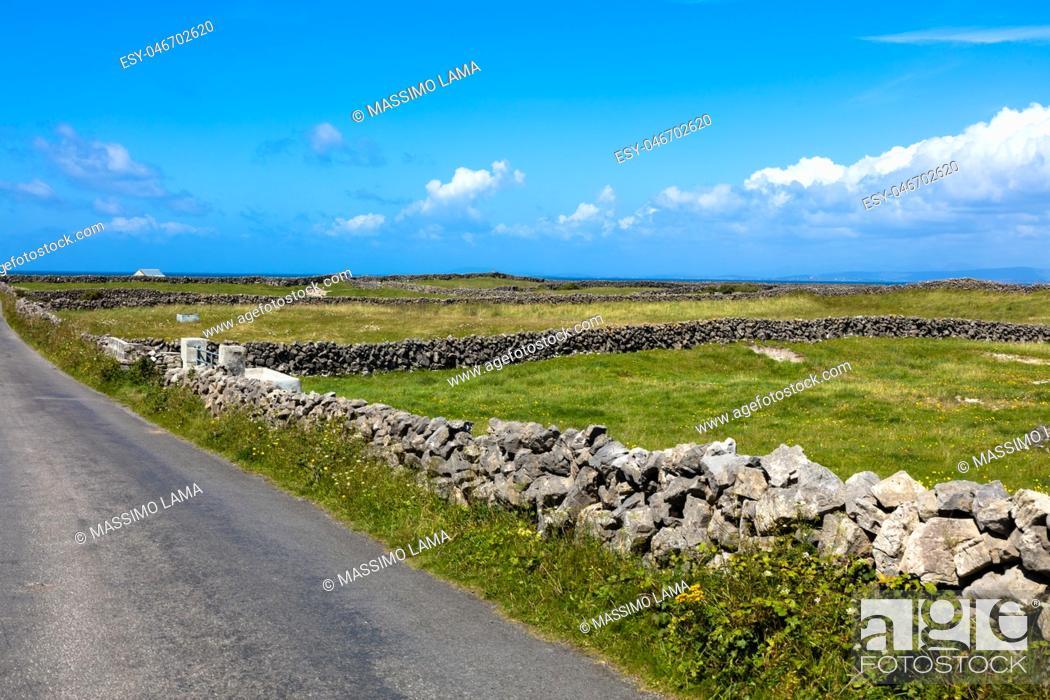 Stock Photo: Landscape of Inish more the main Aran island.