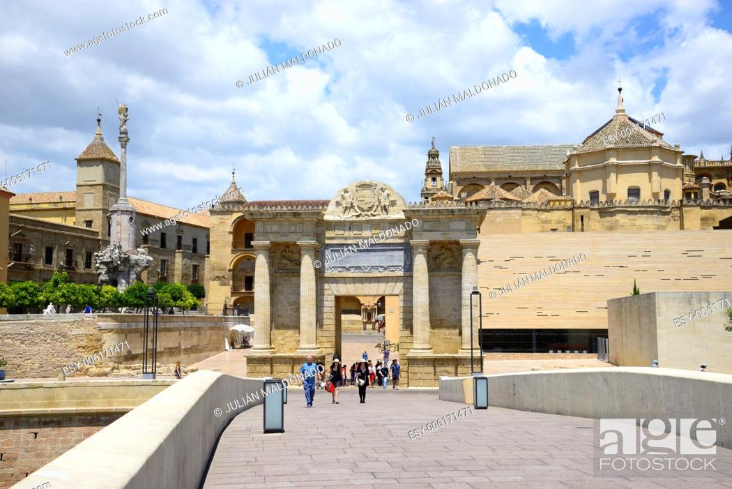 Stock Photo: Footbridge Puente Romano Gate Bridge and Cathedral of Cordoba, Andalucía, Spain.
