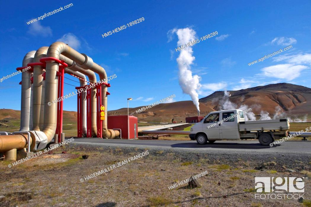 Stock Photo: Iceland, Myvatn, Krafla geothermal power plant.