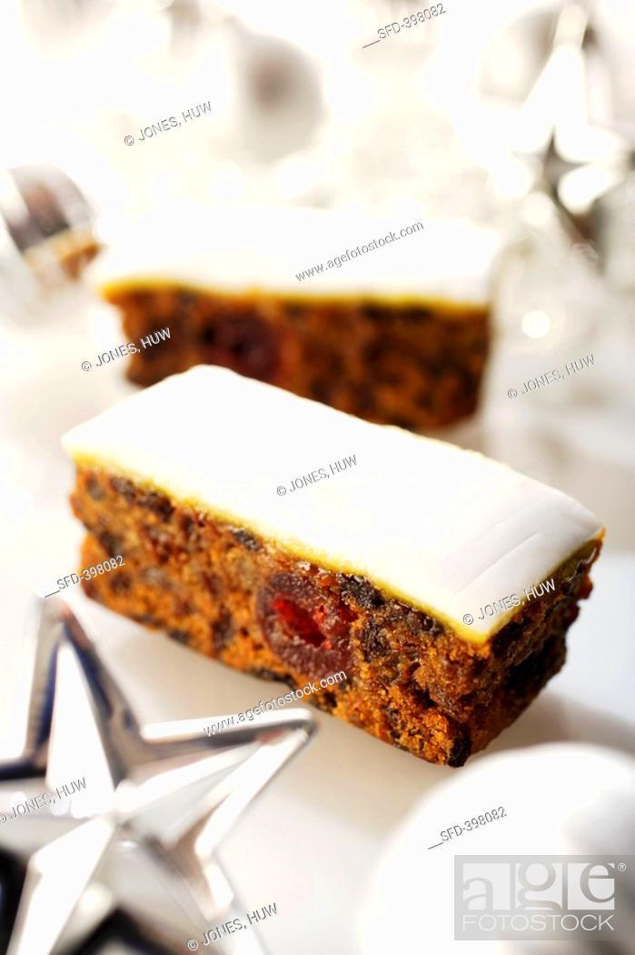 Stock Photo: Slices of fruit cake Christmas.