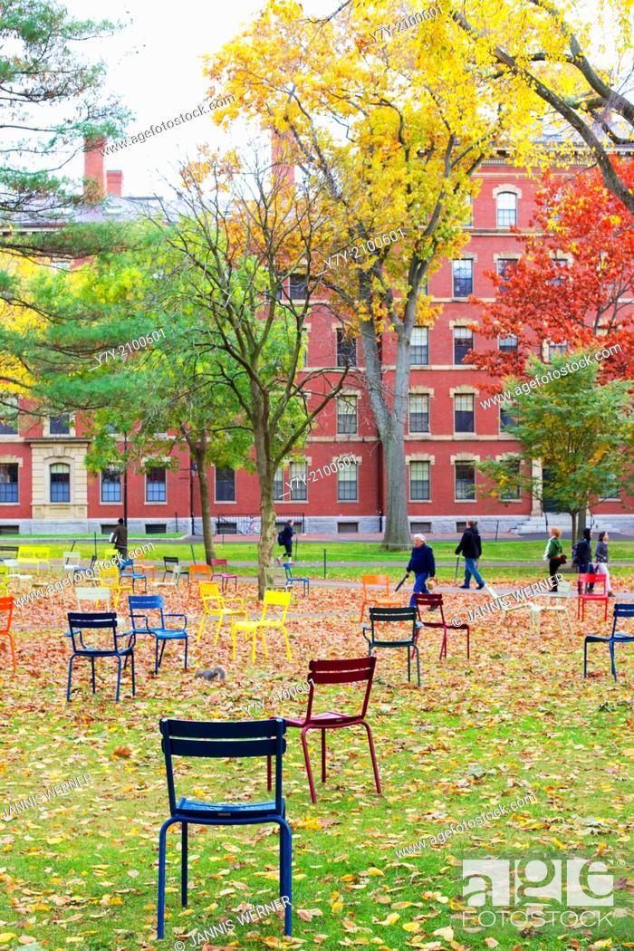 Stock Photo: CAMBRIDGE, MA, USA: Harvard Yard, old heart of Harvard University campus, after Fall rains in Cambridge.