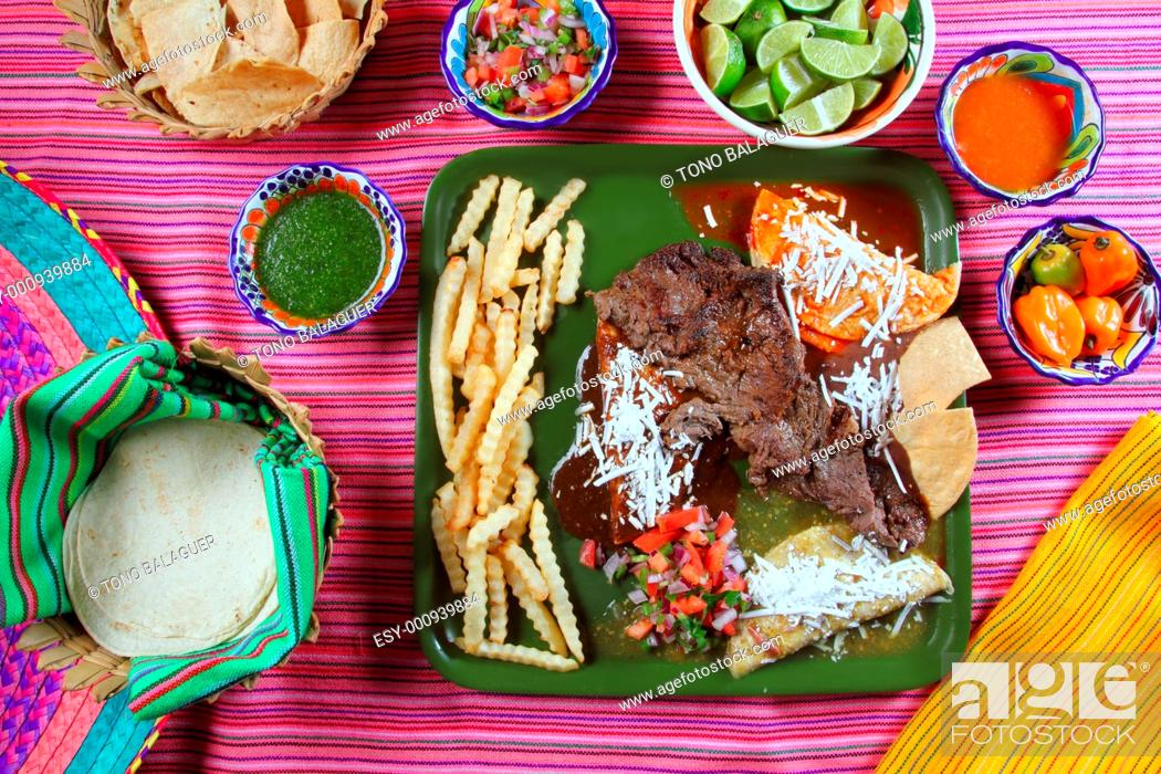 Stock Photo: Arrachera beef flank steak Mexican dish assorted chili sauces Mexico spiced.