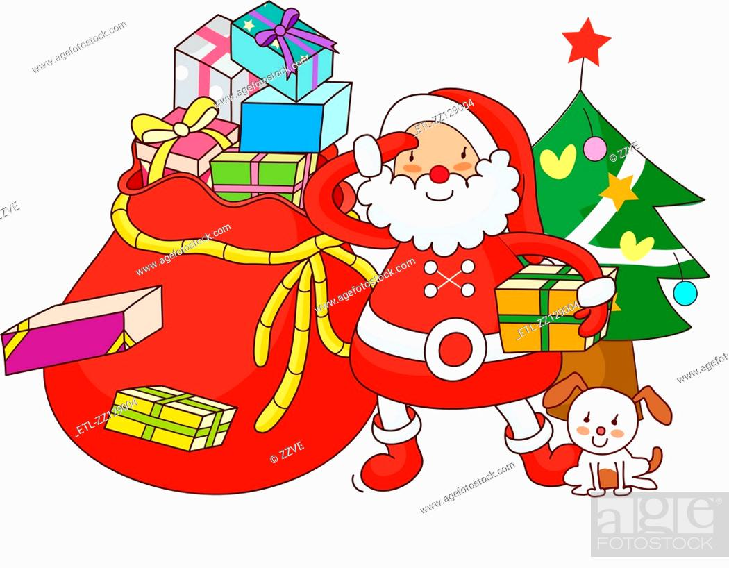 Stock Photo: Santa Claus standing in front of a Christmas tree and holding a Christmas present.