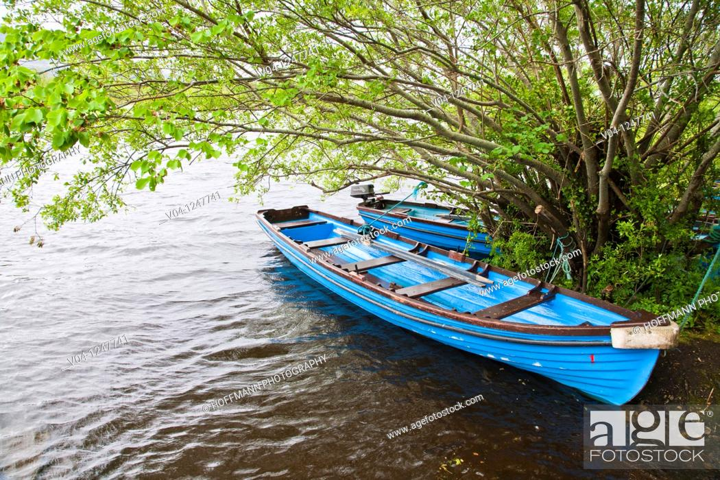 Stock Photo: Blue boats at Loch Leane in County Kerry, Ireland, Europe.