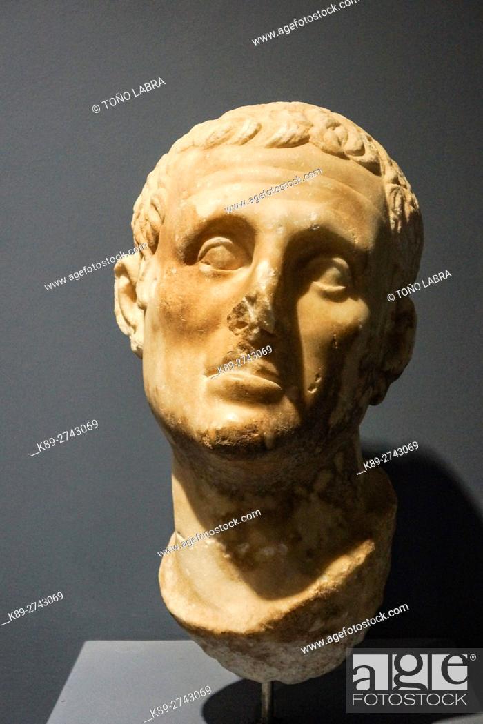 Stock Photo: Male Head (1st Century AD). Ephes Museum. Classic Greek Collection. Asia Minor. Turkey.