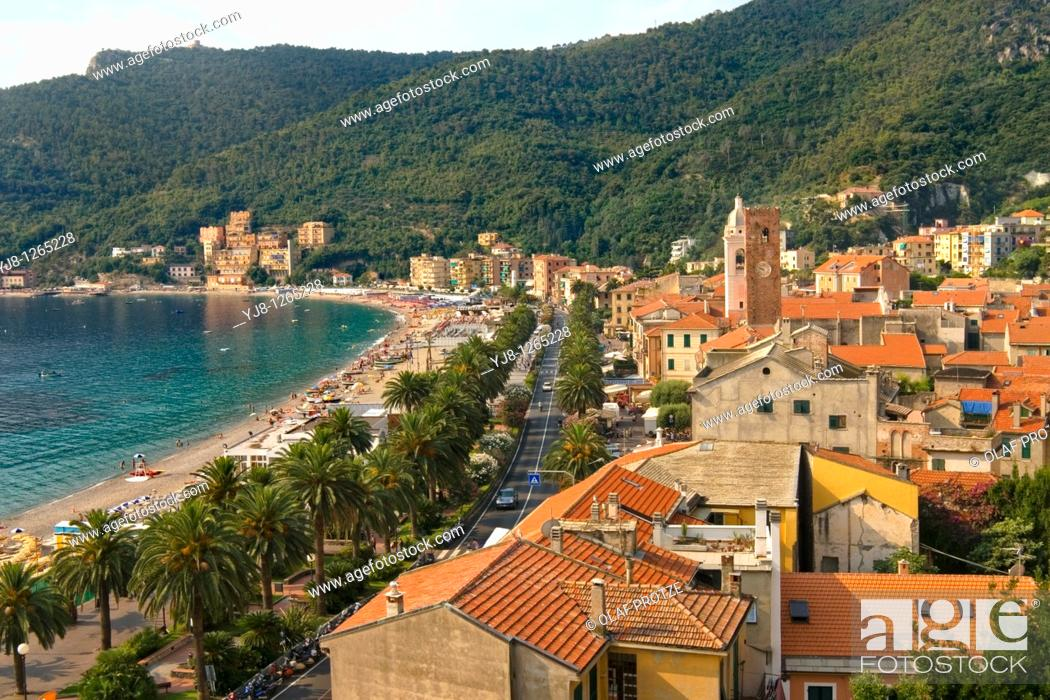 Stock Photo: View over the coastal village Noli at the Ligurian coast in North West Italy.