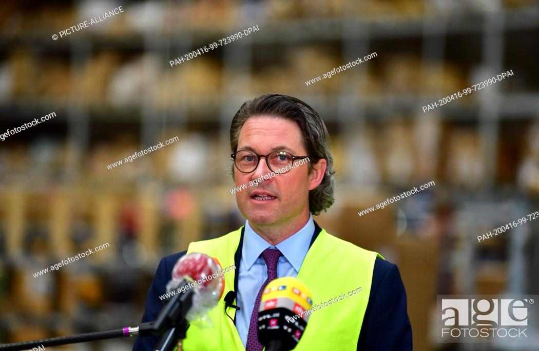 Stock Photo: 16 April 2020, Brandenburg, Großbeeren: Andreas Scheuer (CSU), Federal Minister of Transport and Digital Infrastructure, answers the question of the logistics.