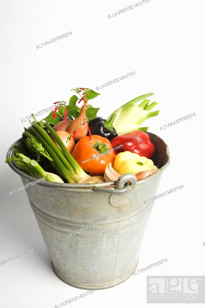 Stock Photo: Bucket filled with assorted fresh vegetables.