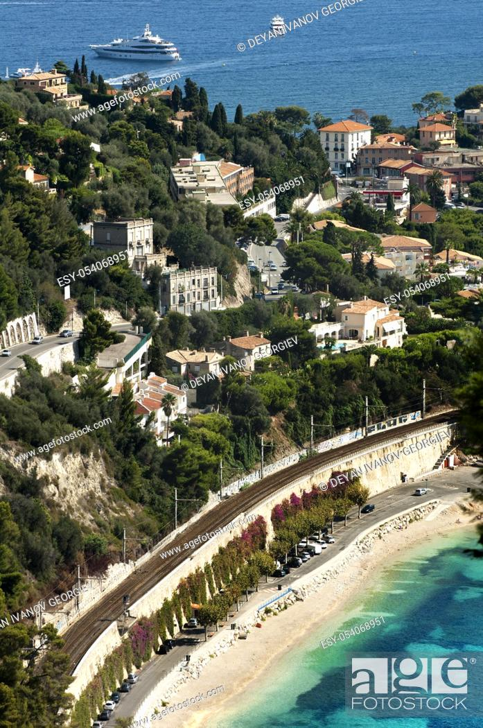 Stock Photo: French riviera view from high.