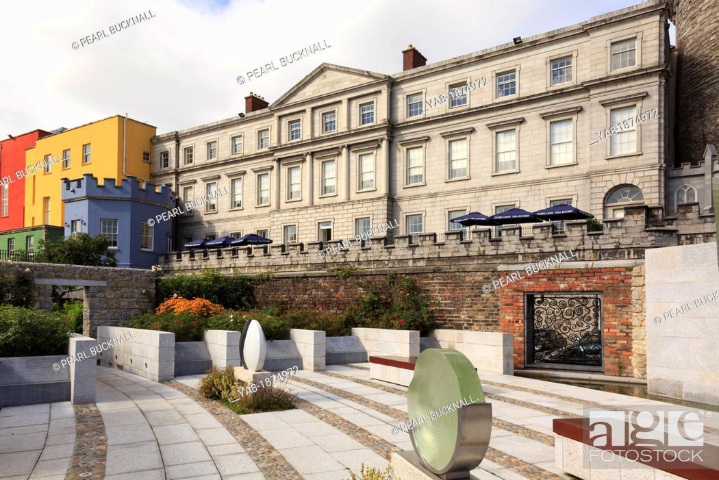Stock Photo: Dublin, Republic of Ireland, Eire, Europe  View to the State Apartments of Dublin Castle from the Garda Memorial Garden.
