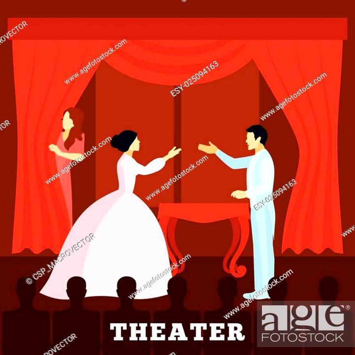 Vecteur de stock: Theatre Stage Performance With Audience poster.
