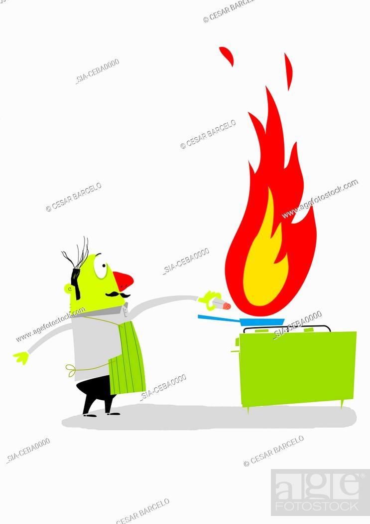 Imagen: Man sprinkling salt on frying pan on fire.