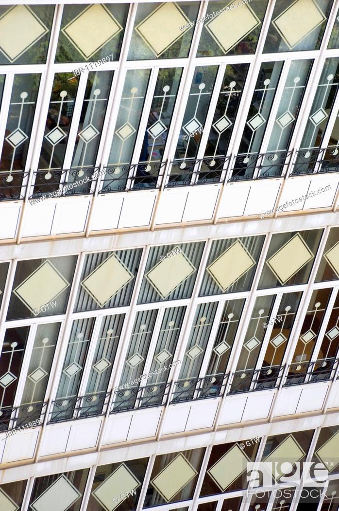 Stock Photo: Building glass wall, Eixample District, Barcelona, Catalonia, Spain.