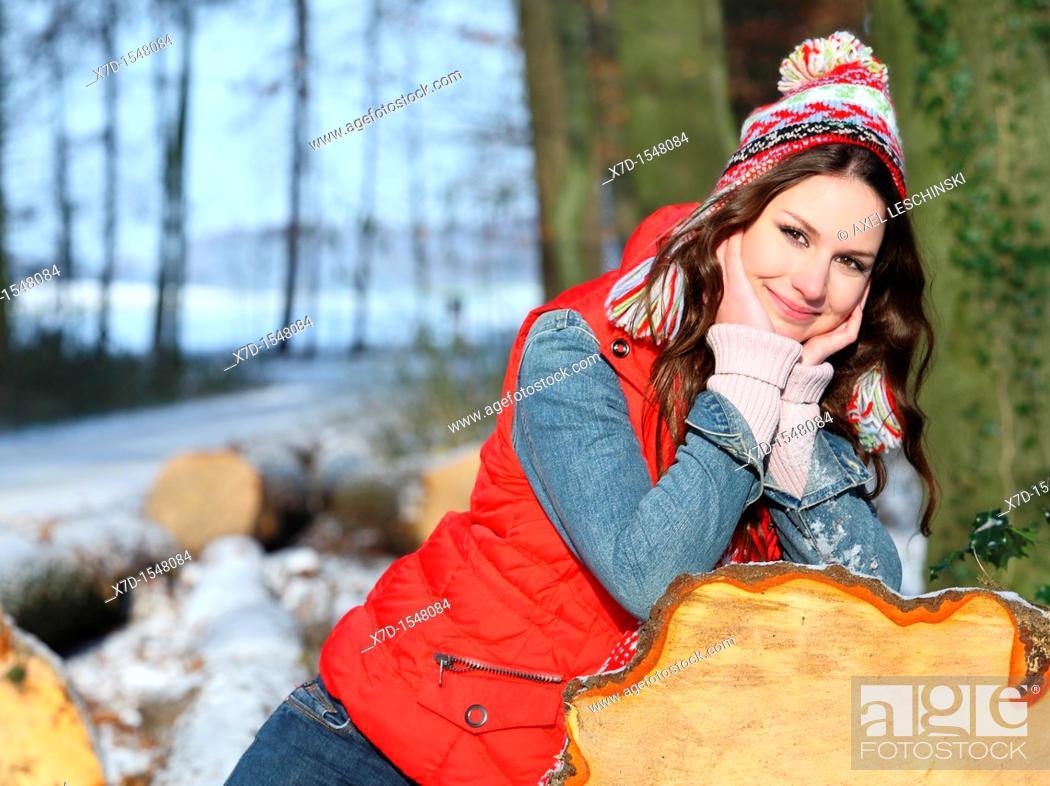 Stock Photo: portrait woman winter landscape.