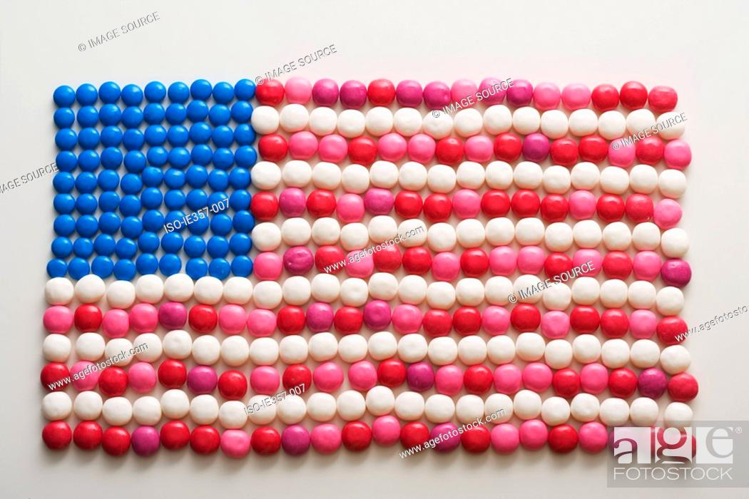 Stock Photo: An american flag made out of sweets.