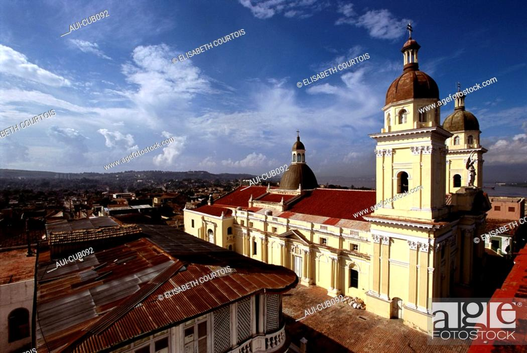 Stock Photo: Cuba - Oriente - Santiago - Nuestra Senora de la Asuncion Cathedral.