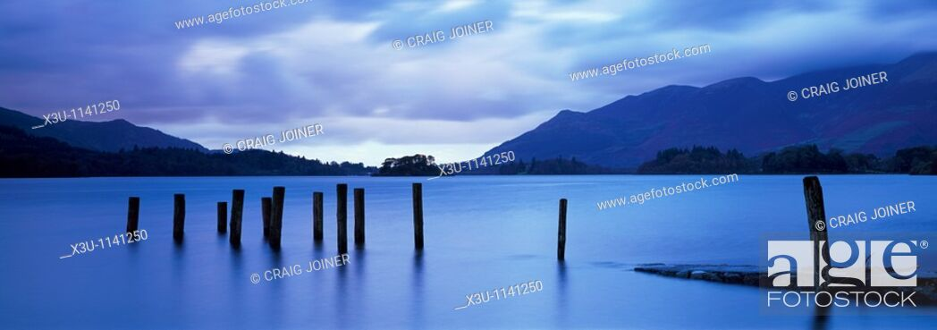Stock Photo: Barrow Bay landing stage underwater due to high rainfall at dusk  Derwent Water in the Lake District National Park near Keswick, Cumbria, England.