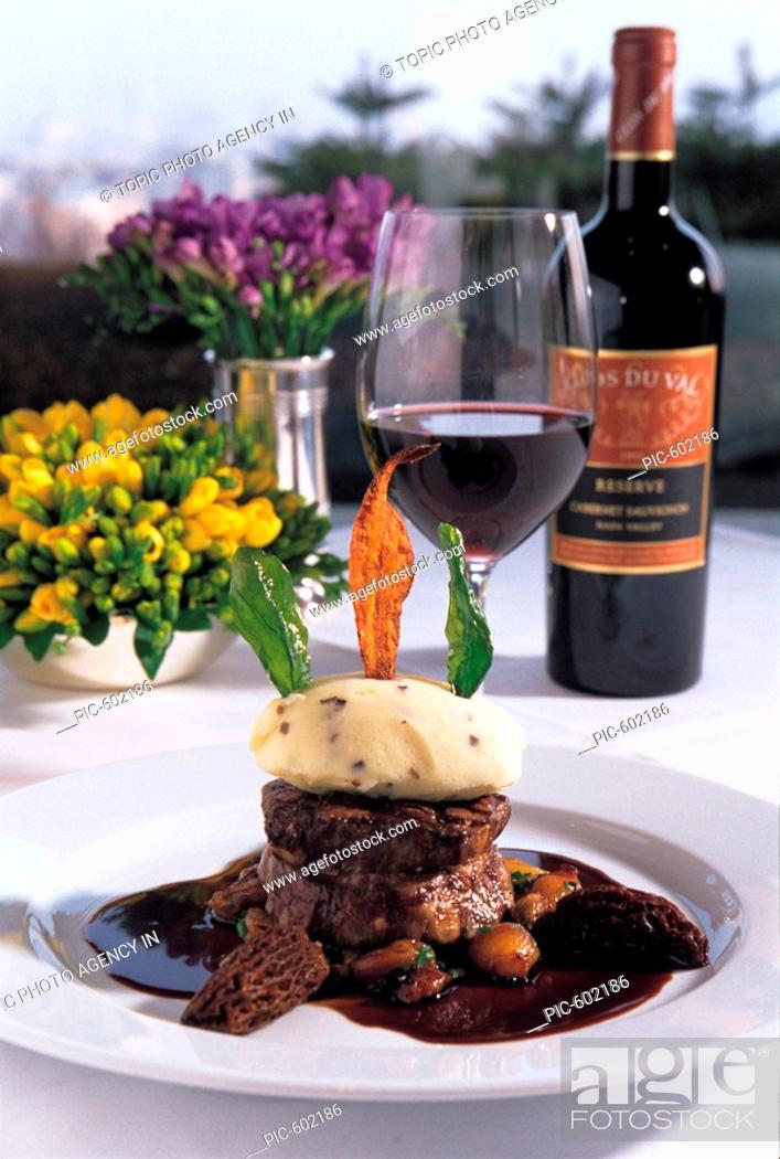 Stock Photo: steak and wine.