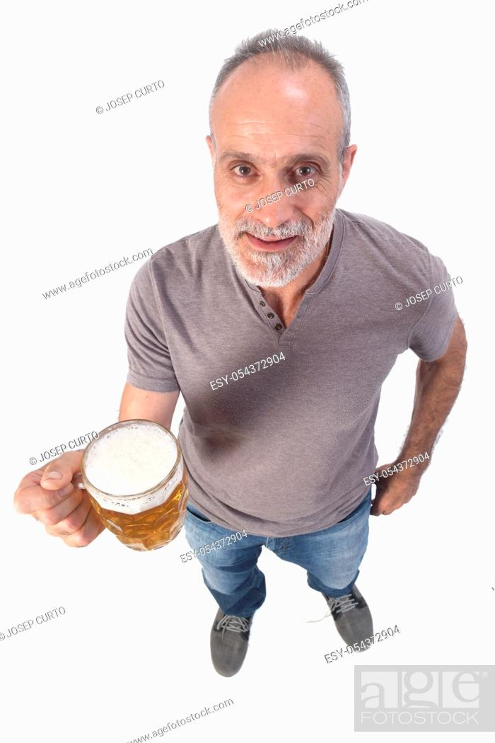 Stock Photo: man with a jar of beer on white background.